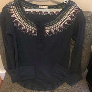 Free people embroidered cotton Henley